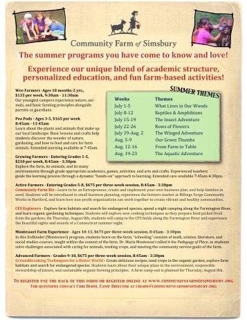Community Farm of Simsbury - Summer Camps - Granby Public ...