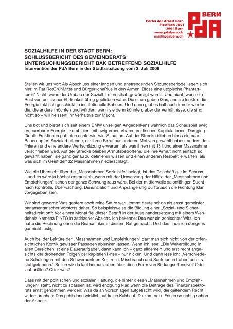 sozialhilfe in der stadt bern: schlussbericht des ... - PdA Bern