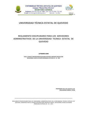 Reglamento Disciplinario para servidores de la UTEQ