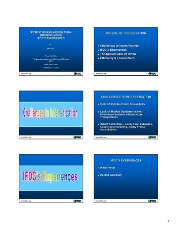 IFDC's Experiences - The Fertiliser Association Of India
