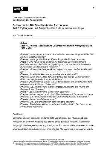 Schwerpunkt: Die Geschichte der Astronomie Teil 2 ... - WDR 5