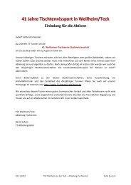 41 Jahre Tischtennissport in Weilheim/Teck Einladung für die Aktiven