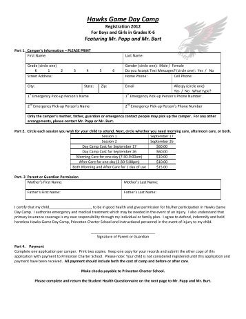 Hawks Day Camp forms - Princeton Charter School