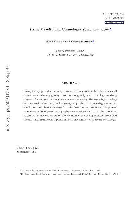 arXiv:gr-qc/9509017 v1 8 Sep 95