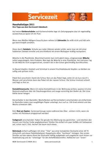 Haushaltstipps 2011 - WDR.de