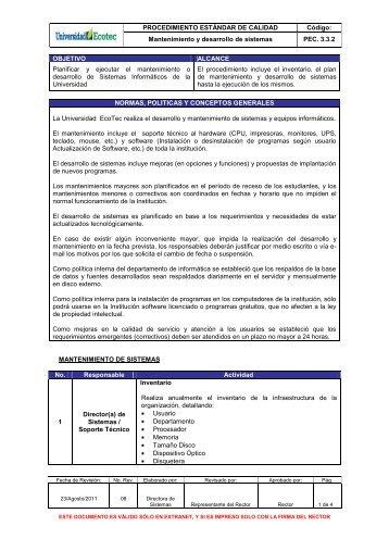 Mantenimiento y desarrollo de sistemas PEC. 3.3.2 OBJETIVO ...