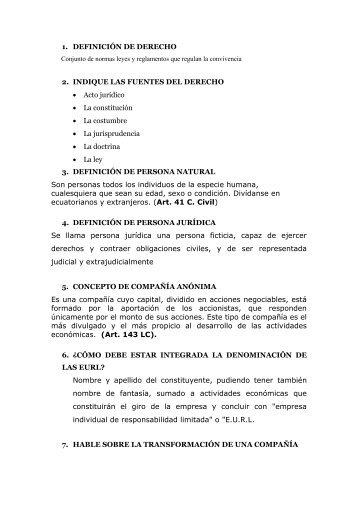 1. DEFINICIÓN DE DERECHO 2. INDIQUE LAS FUENTES DEL ...