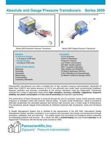 Paroscientific, Inc. Absolute Pressure Transducers - ICON on