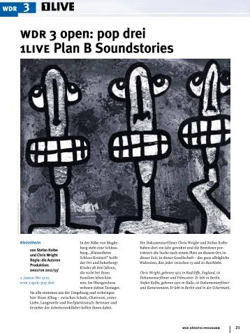 Wdr 3 Open Pop Drei 1live Plan B Soundstories Wdrde