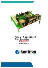 mini ETX Baseboard Short description PRELIMINARY - WDL Systems