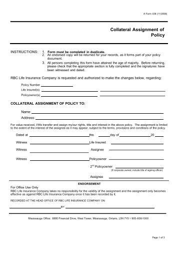 collateral assignment insurance policy
