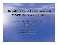 Regulatory and Legal Issues on WSPP Reserves Schedule