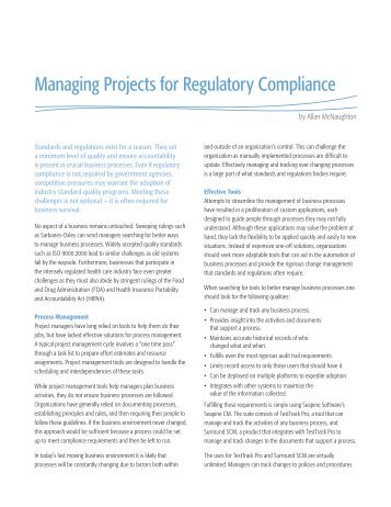 Managing Projects for Regulatory Compliance - Seapine Software, Inc.