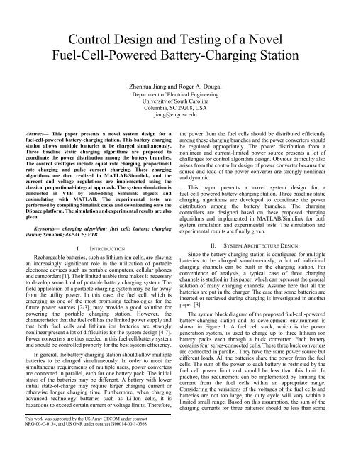 Control Design And Testing Of A Novel Fuel Cell Powered Battery
