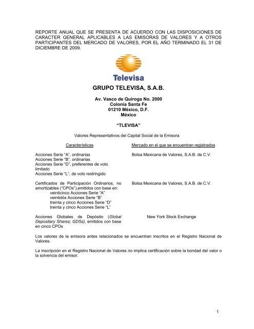 Grupo Televisa S A B Esmas