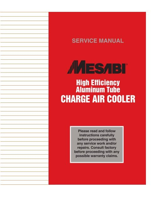 High Efficiency Aluminum Tube Charge Air Cooler - L&M