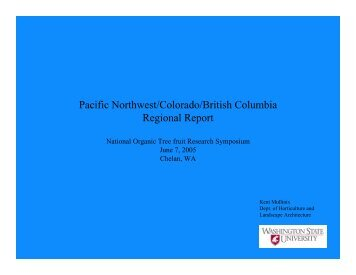 Pacific Northwest/Colorado/British Columbia Regional Report