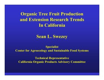 Organic Tree Fruit Production and Extension Research Trends In ...
