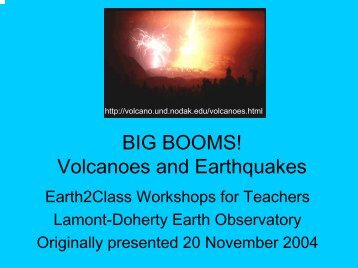 BIG BOOMS! Volcanoes and Earthquakes