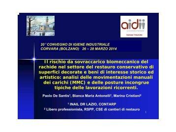Il rischio da sovraccarico biomeccanico nel settore del restauro conservativo