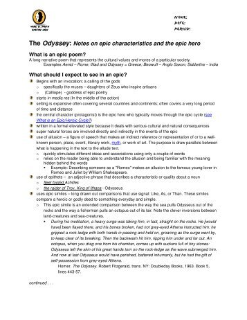 beowulf essay characteristics of archetypal epic hero the odyssey notes on epic characteristics and the epic hero