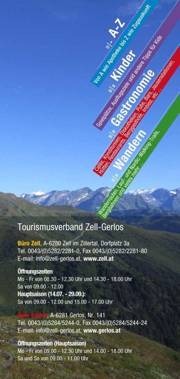 A-Z Kinder Gastronomie Wandern - Zillertal Arena