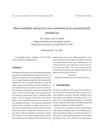 Shear instability and gravity wave saturation in an asymmetrically ...