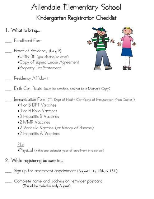 Kindergarten Registration Checklist - Williamson County Schools