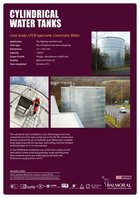 CYLINDRICAL WATER TANKS - Balmoral Group