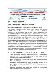 Date : 9 April 2013 (Tuesday) Time : 1330 hrs – 1700 hrs ... - ReCAAP