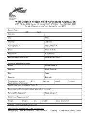Wild Dolphin Project Field Participant Application