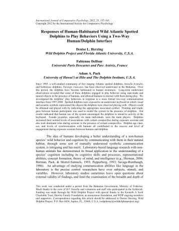 Responses of Human-Habituated Wild Atlantic Spotted Dolphins to ...