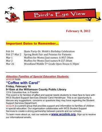 """Coffee with Carol"" - Williamson County Schools"