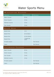 Water Sports Menu - Solea Vacances