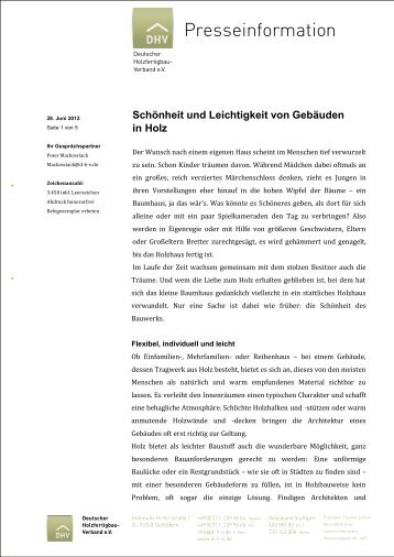 Schönheit und Leichtigkeit von Gebäuden in Holz - Deutscher ...