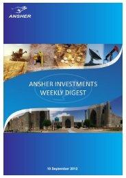 Ansher Investments News Digest for 3 - 7 September