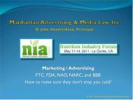 Marketing / Advertising FTC, FDA, NAD, NARC, and BBB ... - NIA West