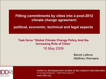 Fitting commitments by cities into a post-2012 climate change ... - Iddri