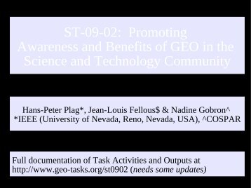 ST-09-02: Promoting Awareness and Benefits of ... - GEO Tasks.org