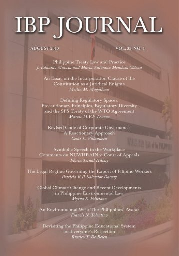 Journal Volume 35 no. 1 (2010) - Integrated Bar of the Philippines