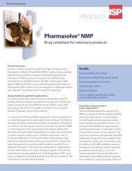 ISP Pharma - Pharmasolve Vet Product Applications - Sell ...