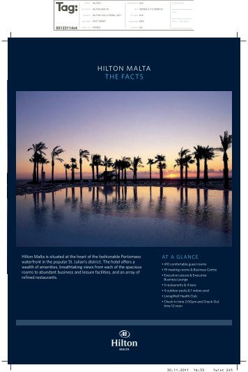 Hilton Malta Fact Sheet - Hilton Hotel in Malta