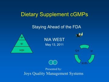 Dietary Supplement cGMPs: Staying Ahead of the FDA - NIA West