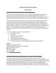 Life Sciences South Florida Asset Map Research Parks
