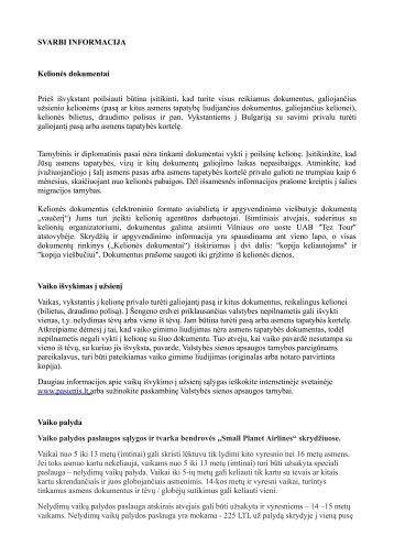 SVARBI INFORMACIJA Kelionės dokumentai Prieš ... - Tez Tour