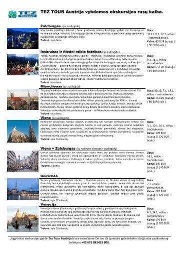 1. Ekskursijos Austrijoje - Tez Tour