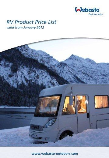 Webasto Product UK Ltd - RV Product Price List 2012