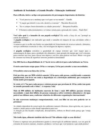 Ambiente & Sociedade: o Grande Desafio ... - Outorga.com.br