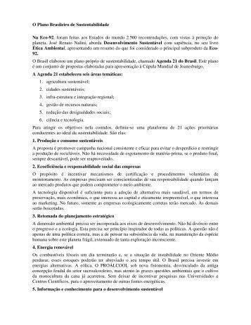 O Plano Brasileiro de Sustentabilidade Na Eco-92, foram ... - Outorga