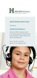 Kurs B: Erweiterte und objektive audiologische Diagnostik
